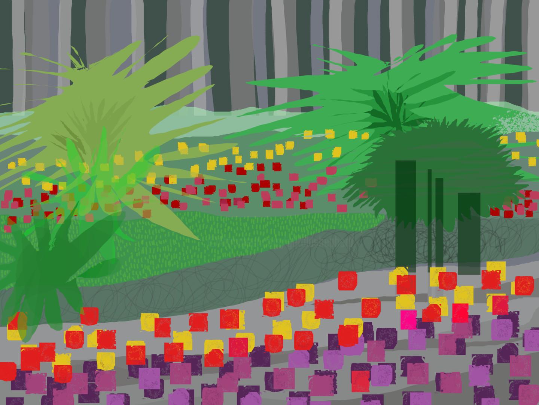 Gerald Shepherd - Tulips In A Landscape