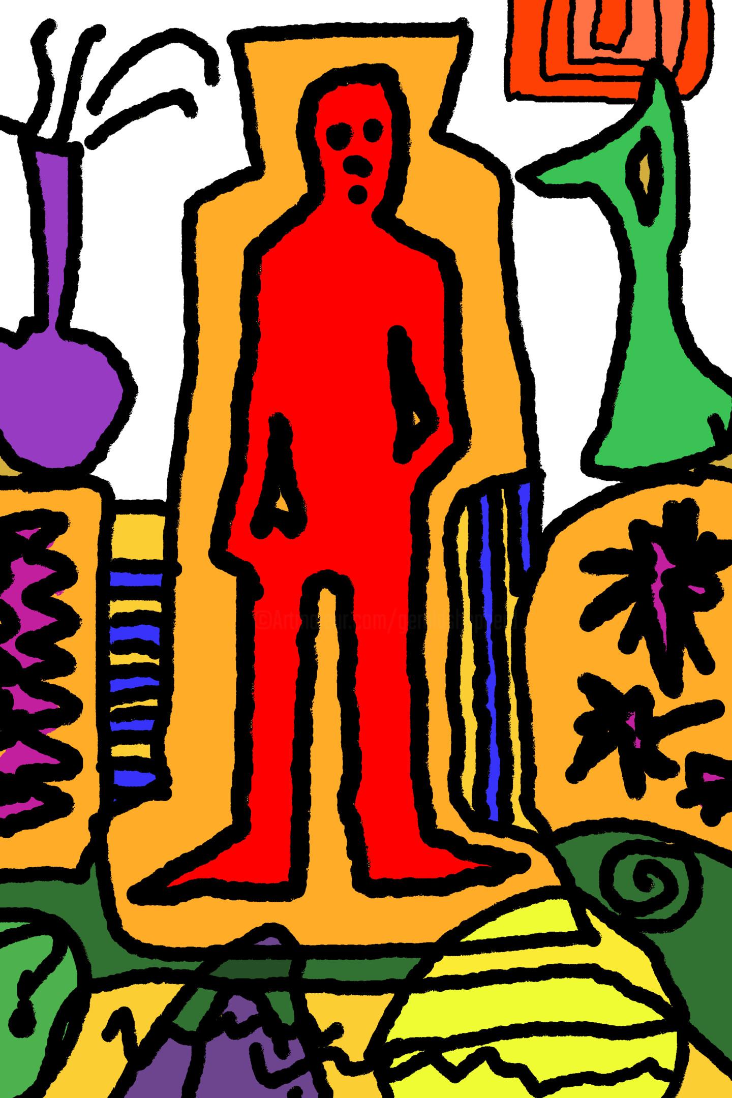 Gerald Shepherd - Red Figure In An Interior