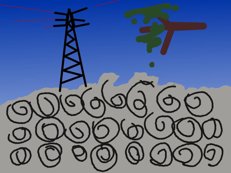 Gerald Shepherd - Tree And Electricity Pylon