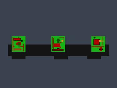 Three Green Monoliths