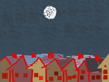 Moon Over Roof Tops