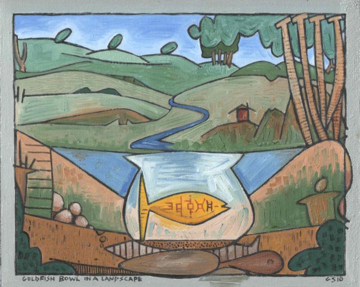 Gerald Edward William Shepherd - Goldfish Bowl In A Landscape